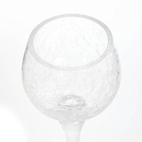 Hosley Set of 3 Crackle Clear Glass Tealight Holders Ideal Gift for Wedding HG Global FBA-G85806ON-1-EA 9, 10, 12 High . Ideal Gift for Wedding, Party, Spa, Aromatherapy LED Votive Candle Gardens O4 10 12 High