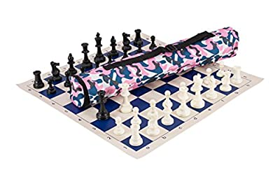 The House of Staunton Quiver Chess Set Combination - Triple Weighted - Pink Camo Bag/Royal Blue Board