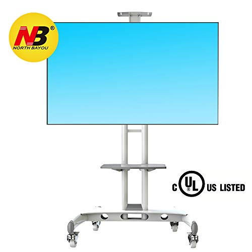 NB North Bayou Mobile TV Cart TV Stand with Wheels for 32 to 65 Inch LCD LED OLED Plasma Flat Panel Screens up to 100lbs AVA1500-60-1P (White)
