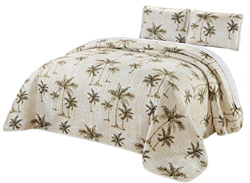 3-Piece Fine Printed Oversize (115″ X 95″) Tropical Palm Tree King Size Quilt Set Reversible Bedspread Coverlet Bed Cover (Beige, Sage Green, Brown)