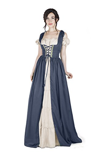 Renaissance Medieval Irish Costume Over Dress & Boho Chemise Set (S/M, Steel Blue)]()