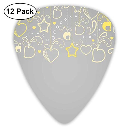 Guitar Picks 12-Pack,Ethnic Christmas Themed Ornament Holiday Hearts And - Bicycle Holiday Ornament