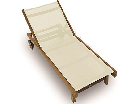Royal Teak Sundaze Sling Chaise - White (White Sling Patio Chairs)