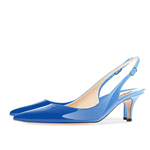 Sky Blue Slingback Evening Pumps Stiletto Strap Toe 5CM 6 Modemoven Heels Kitten Ankle Shoes Patent Women's Leather Pointed 7PcWgTaq