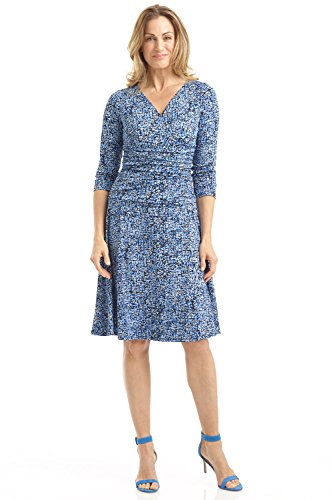 Rekucci Women's Slimming 3/4 Sleeve Fit-and-Flare Crossover Tummy Control Dress (18,Ocean Blue Bubbles)