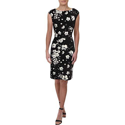 (Lauren Ralph Lauren Women's Novellina Assouline Floral Boarder Matte Jersey Dress Black/Colonial Cream/Multi 12)