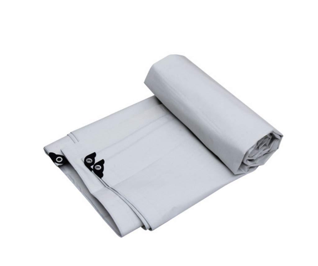 QQHWDT LYX® Regendichtes Tuch, Schlag-Schatten-Sonnenschutzmittel PET-Plane Wasserdichtes Poncho-Tuch-Auto-LKW-Überdachungs-Tuch 5 Meter  7 Meter weiß