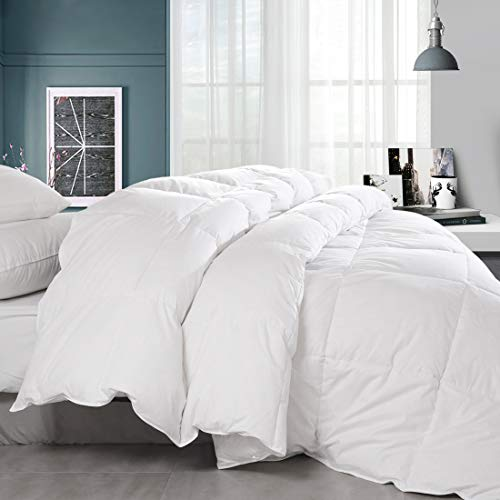 Balichun Premium Goose Down Comforter King - Solid White - Soft 1500 Thread Count Cotton Shell - 750 Fill Power - Down Duvet Insert with Tabs (White, King)
