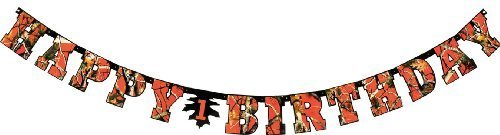 Havercamp Next Camo Partyware Blaze Orange Happy Birthday Camouflage Hunting Party Banner Decoration for $<!--$7.98-->