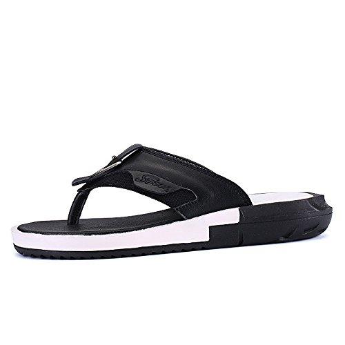 Sommer Männer Schuh Männer Freizeit Sandalen Echtleder Gemütlich Strand Schuh Mode Flip Flops Sandalen ,schwarz,US=9,UK=8.5,EU=42 2/3,CN=44