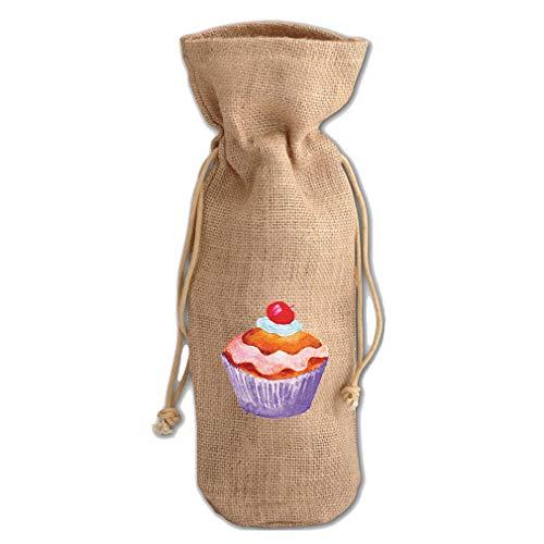 Cupcake With Cherry Style 2 Jute Burlap Wine Drawstring Bag Wine Sack