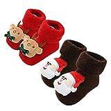 NUWFOR 2Pairs Toddler Infant Baby Boys Girls Cartoon Christmas XMAS Winter Warm Socks(Brown,6-12Months)