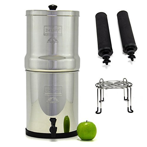 Water Element Filter Accessories (Big Berkey Stainless Steel Water Filtration System with 2 Black Filter Elements and Stainless Steel Wire Stand)