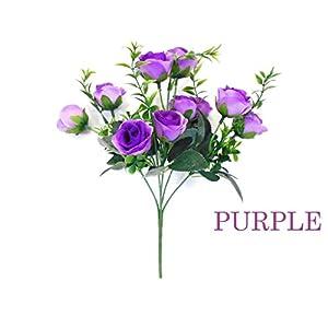 "Phoenix Silk 2 Bushes Small Rose Buds 10 Artificial Silk Flowers 13"" bouquet 5036 PURPLE 61"