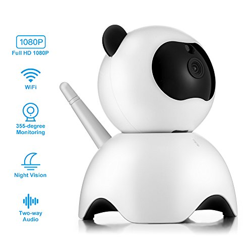(ACCEWIT Wireless Security Camera And Baby Monitor, 2.4G 1080P HD WiFi IP Camera Intelligent Wireless Surveillance Camera With Motion Detectetion Cute Panda Shape Two Way Audio Night Vision Remote Cont)