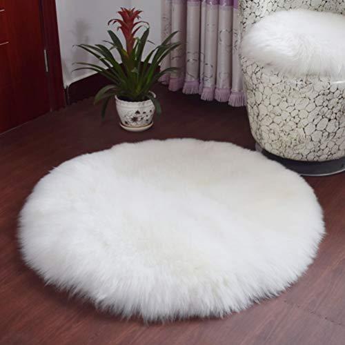 BIN Alfombra De Alfombra De Imitación De Lana Interior Redonda (Color: Blanco),150 * 150