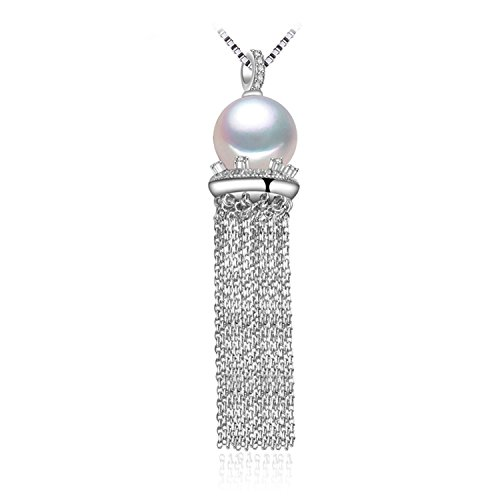 SuperLouisa Fashion 9-10mm round Pearl necklaces,Pearl with 925 Sterling Silver tassel necklaces,Birthday gift pearl Jewelry - Indiana Outlet Mall