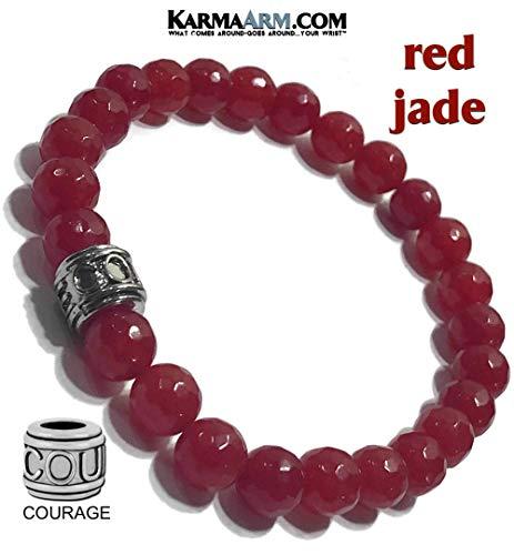 Mantra Bracelet   Natural Red Jade   COURAGE Bead   Zen Meditation Mala Wristband   Yoga Reiki Healing Energy BoHo Beaded Chakra Self-Care Wellness Jewelry & Gifts   FEARLESS