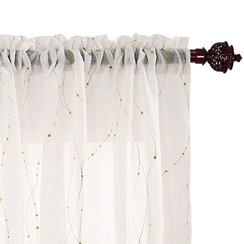 Deconovo Sheer Curtain White 63 Rod Pocket Wave Line with Dots Linen Look Window Curtain for Dining Room 52W x 63L Gold 2 Panels (Gold Panels 2 Curtains)