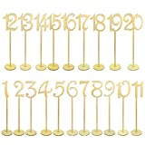 goldblue Wooden Table Numbers with Holder Base for Wedding or Home Decoration (Wood Color)