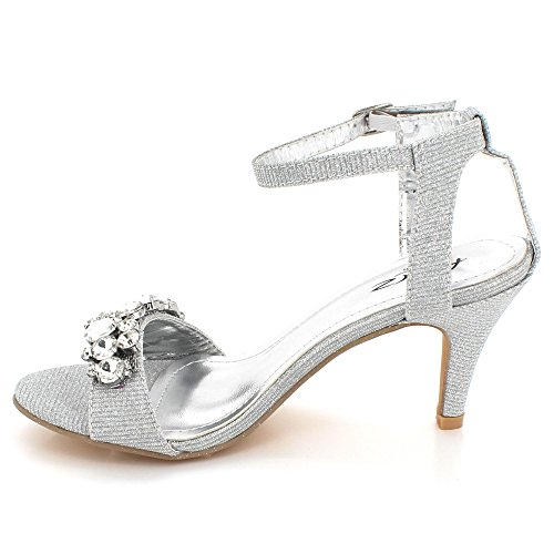 AARZ LONDON Women Ladies Sparkly Crystal Diamante Evening Wedding Party Bridal Prom High Heel Sandals Shoes Size Silver dfWt6