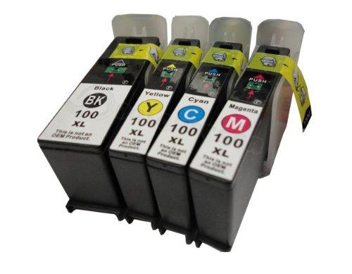 Generic  Lexmark 100 XL 4PK Ink Cartridge Black Cyan Magenta Yellow Impact S301 S305