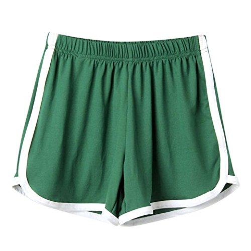 Women Shorts JJLOVER Solid Running Yoga Sport Hot Shorts Elastic Waist Summer Casual Fashion Short Pants (Green, L)
