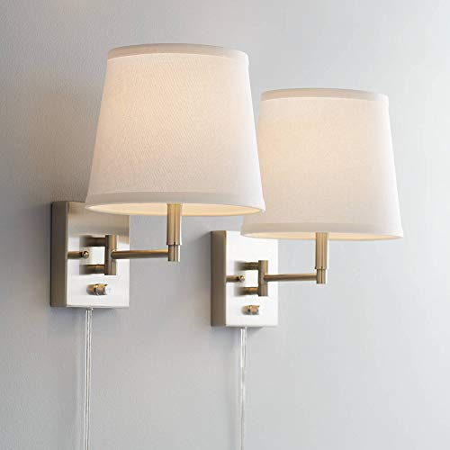 Clear 6' Vertical Cfl - Lanett Brushed Nickel Swing Arm Plug-in Wall Lamp Set of 2-360 Lighting