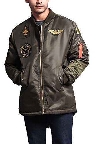 Bomber Parka - G-Style USA Men's Patched Long Length MA-1 Bomber Parka Jacket - JK757 - OLIVE - Large - E17C