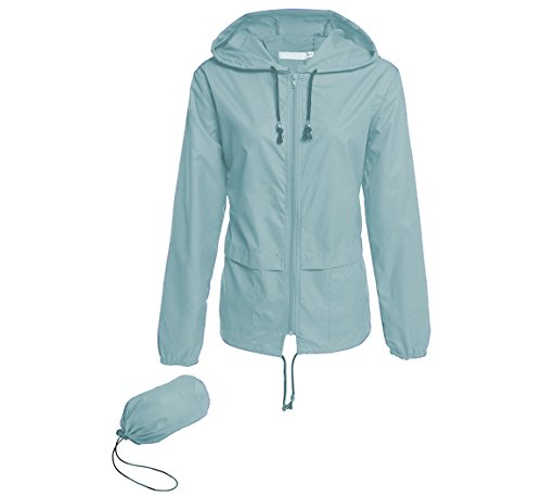 Hount Women's Lightweight Hooded Raincoat Waterproof Packable Active Outdoor Rain Jacket (L, Light Green)