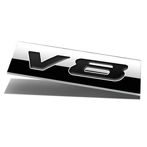 Chrome Finish Metal Emblem V8 Badge (Black Letter)