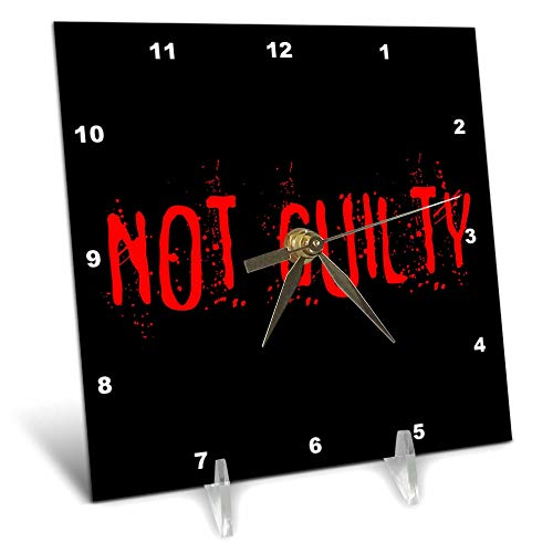 3dRose Alexis Design - Typography Funny - Red text Not Guilty on black background. Halloween horror theme - 6x6 Desk Clock (dc_287180_1)]()