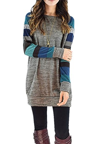 Walant Women Knit Stripe Long Sleeve Casual Tunic Tops Shirts Blouse (Print Tunic Blouse)