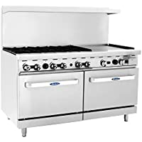 Atosa ATO-6B24G 60 Gas Range. (6) Open Burners and 24 Griddle on the RIGHT with Two 26 1/2 Wide Ovens