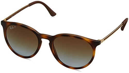 Ray-Ban RB4274 Round Sunglasses, Rubber Tortoise/Polarized Brown Gradient, 53 mm (Ban Sunglasses Ray Polaroid)