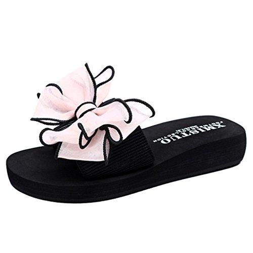 Binying Women's Summer Bowknot Flowers Thick-Heel Non-Slip Beach Sandals Pink Bowknot EzFNg