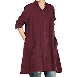 GOVOW Women Solid Daily Ritual 3/4 Sleeve Casual Loose Button Shirt Blouse Tops Wine