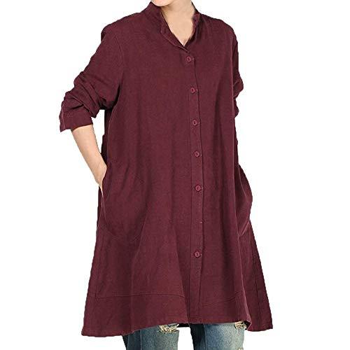 Chemisier de Shirt Unie en Poche Chic Bouton Chemise Manches Beikoard Coton Tops Longues de pour Du Femme T Femme Couleur Chemisier Vin xwAx7XU