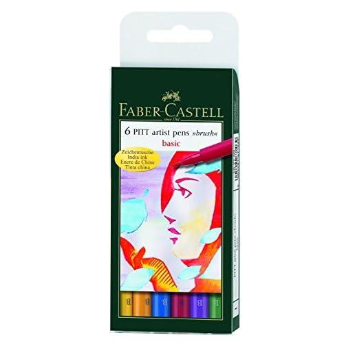 Faber-Castell 167103 Feutre PITT artist pen couleurs de base étui de 6