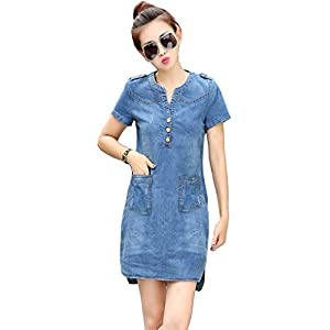 Alixyz Women Summer Mini Jeans Dress Sexy Slim Bodycon Denim Dress Plus Size