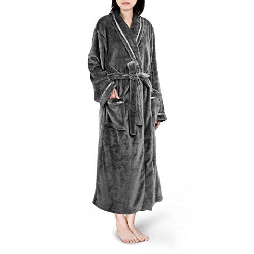 PAVILIA Premium Women Fleece Robe With Satin Trim Luxurious, Super Soft, Comfortable | (Small/Medium, (Soft Robe)