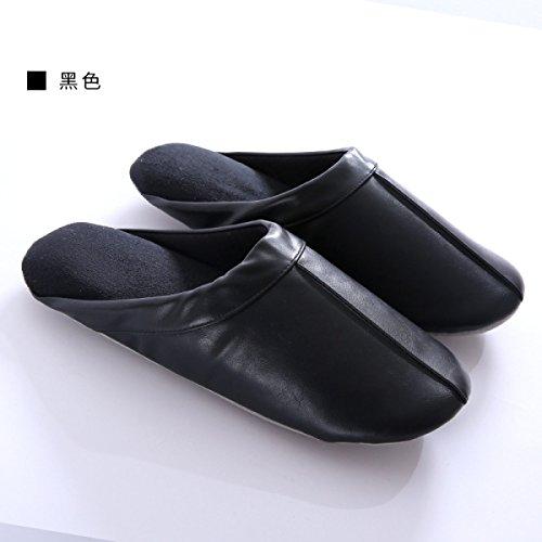 Accueil Fin De black Couple Hommes Maison Japonais Coton Baotou Cuir Plancher Hiver Pu Matte Black En Femmes Automne Pantoufles Et Style 7HqYE6EFw