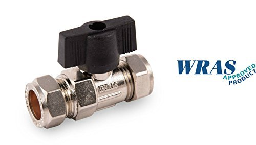 Isolating Valve 15 mm with Handle Lever, Chrome WRAS Approved Product by Westco