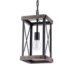 Farmhouse Ceiling Light Fixtures VILUXY Vintage Pendant Light, Classic Single Light Hanging Pendant Lighting, Black Metal Cage and Wood Shade, for… farmhouse ceiling light fixtures
