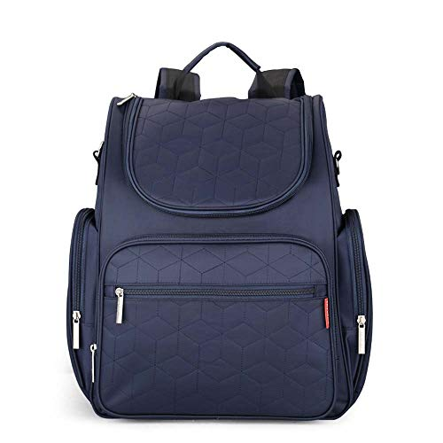 RuRu Monkey Diaper Bags Backpack Large Baby Multifunction Waterproof T Diaper Bookbag with Changing Pad, Stroller Straps, Lots of Pockets for Dad/Mom (Navy Blue)