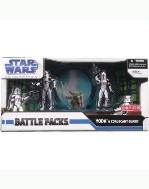 """Star Wars Clone War Battle Pack - Yoda & Coruscant Guard 3.75"""" Figures"""