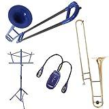 Tromba Blue Plastic Travel Trombone PLUS Upgrade University Series Trombone Bundle w/Blue Music Stand & Light Pack