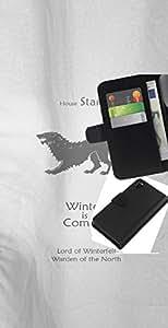 Protector de cuero de la PU de la cubierta del estilo de la carpeta del tirón BY RAYDREAMMM - Sony Xperia Z3 D6603 - Casa Stark