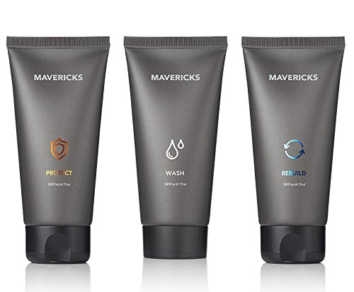 Mavericks 3-in-1 Total Anti-Aging Skincare System: Premium Face Wash, Day and Night Lotions (Kit Grooming Total)