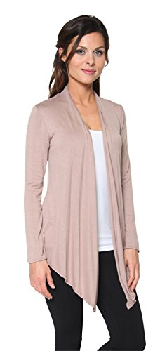 Beige Womens Cardigan (Free to Live Women's Light Weight Open Front Cardigan Sweater Made in USA (XL, Mocha))